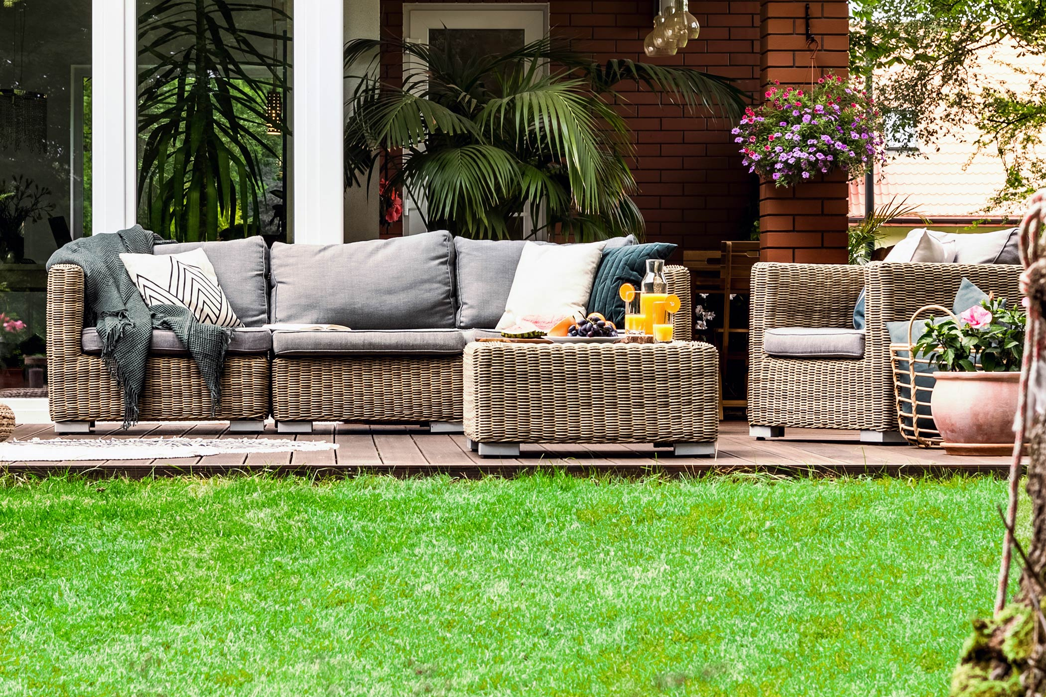 outdoor furniture on a deck